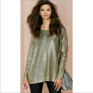 Nasty Gal Oversized Gold Metallic Sweater, s